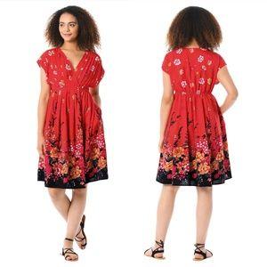 eSHAKTI Grecian Pleat Asian Floral Print Dress